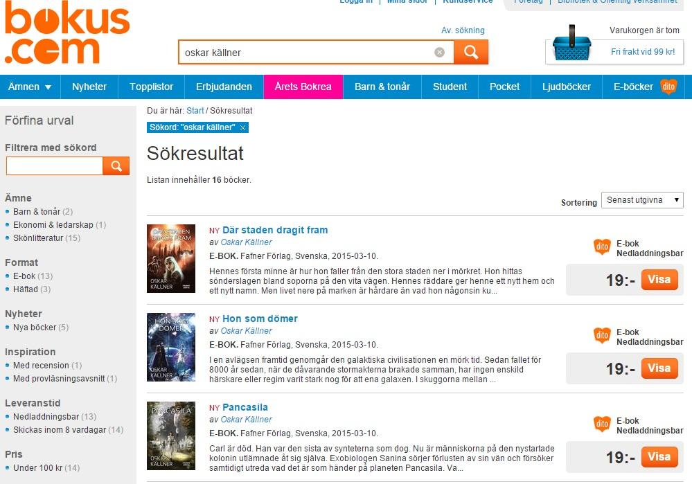 Bokus SF-noveller Oskar Källner